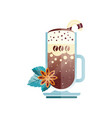 tasty coffee drink with candy cane star anise and vector image vector image