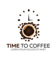 time to coffee coffee watch flat vector image