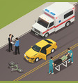 traffic accident scene isometric composition vector image vector image