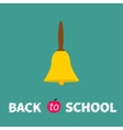 yellow bell with handle back to school chalk text vector image vector image