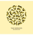 Yellow taxi cars in round shape vector image vector image