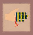 flat shading style icon bloody hand vector image