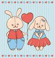 two valentine rabbit in love vector image