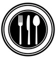 fork knife and spoon on plate background vector image