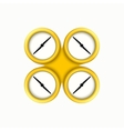 modern yellow quadrocopter on white vector image