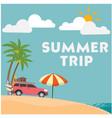 summer trip van umbrella blue sky background vector image