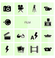 14 film icons vector image vector image