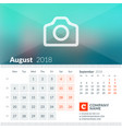 august 2018 calendar for 2018 year week starts vector image vector image