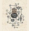 banner with vintage keys keyholes and old house vector image vector image