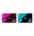 bright gift card with pink and blue stripes vector image