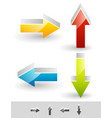 bright glossy arrow set in different directions vector image vector image