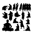 buddhist monk gesture silhouettes vector image