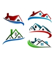 Building symbols with home roofs vector image