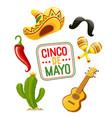 cactus sombrero guitar vector image vector image