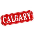 calgary red square grunge retro style sign vector image vector image