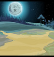 cartoon background of a fairy forest moonlit night vector image vector image