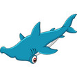 cartoon hammerhead shark vector image vector image