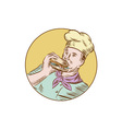 Chef Cook Eating Burger Etching vector image vector image