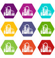 chemical equipment icons set 9 vector image vector image