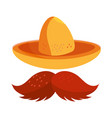 cinco de mayo hat and moustache vector image