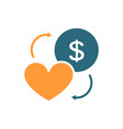 coin and heart colored icon exchange happiness vector image vector image