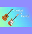 compare between classical guitar vs electric vector image