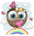 cute owl with heart is sitting on a rainbow vector image vector image