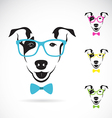 Dog bull terrier glasses vector image vector image