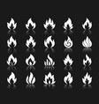 fire shape white silhouette icons set vector image