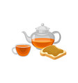 flat icon of glass teapot and cup with vector image