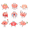 funny cartoon characters brain in action poses vector image vector image