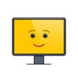 funny face on computer screen emoticon vector image vector image