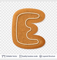 gingerbread letter e symbol with drop shadow vector image vector image
