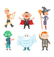 halloween costumes for kids zombie vampire vector image