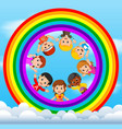 happy children playing on the skies vector image
