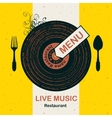 menu restaurant with live music vector image vector image