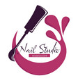 nail studio beauty salon hand care isolated icon vector image vector image