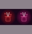 neon icon of red and pink magic hat vector image