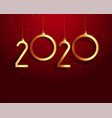 new year 2020 red and gold background design vector image