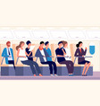 passengers on plane people traveling on airplane vector image