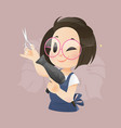 professional hairdresser with hairdryer vector image