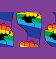 rainbow clenched fist pattern vector image vector image