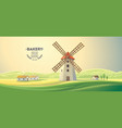 rural summer landscape with windmills and with vector image vector image