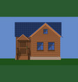 rustic wooden house with a porch and a blue roof vector image