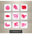 Set of Bright red watercolor brush strokes vector image