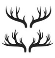 set of deer horns on white stock vector image vector image