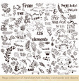 set of hand sketched doodles catchwords vector image vector image