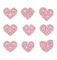 set of polygonal flat heart symbols icons vector image vector image
