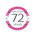 seventy two years anniversary celebration logo vector image vector image