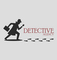 silhouette of detective agency vector image vector image